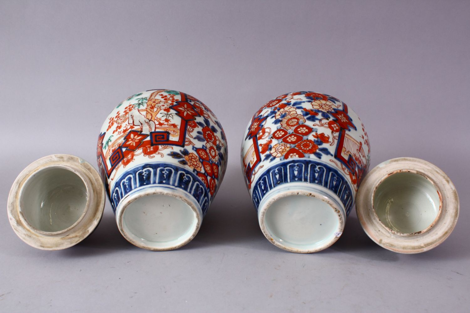 A PAIR OF MEIJI PERIOD IMARI VASES AND COVERS, with kylin finials, overall 30cm high. - Image 10 of 10