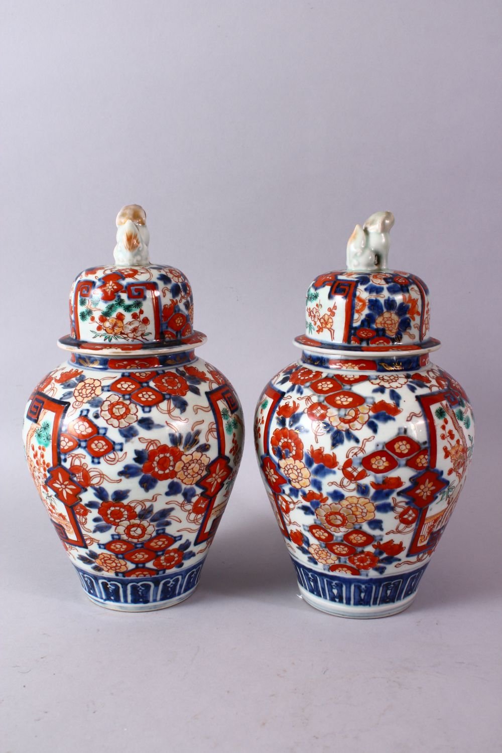 A PAIR OF MEIJI PERIOD IMARI VASES AND COVERS, with kylin finials, overall 30cm high. - Image 5 of 10