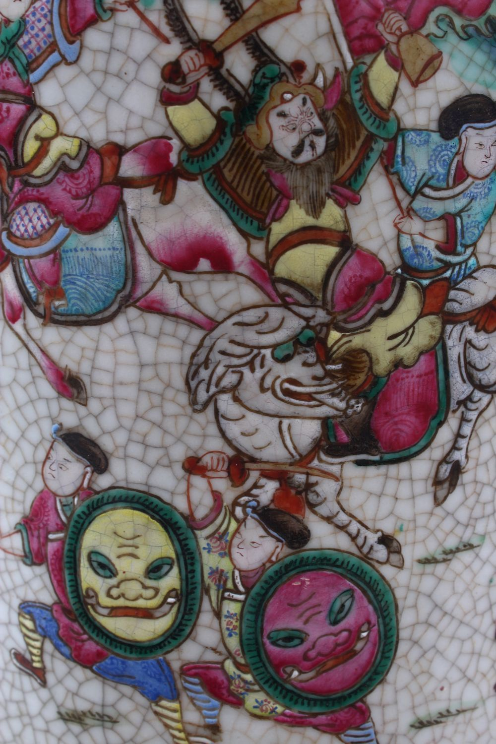 A 19TH CENTURY CHINESE FAMILLE ROSE CRACKLE GLAZED PORCELAIN VASE, painted with a battle scene, - Image 5 of 8