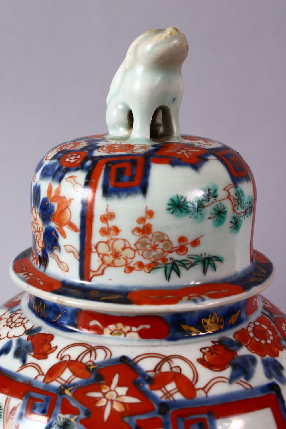 A PAIR OF MEIJI PERIOD IMARI VASES AND COVERS, with kylin finials, overall 30cm high. - Image 4 of 10