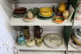 A quantity of studio pottery and other similar items.