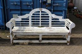 A Lutyens style painted large garden bench.