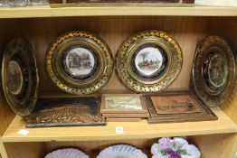 Decorative porcelain plates with embossed and pierced metal borders and other items.