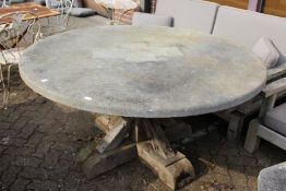 A good large heavy circular marble top table with substantial rustic oak base.
