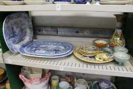 Three blue and white meat plates, a quantity of continental maiolica style china.