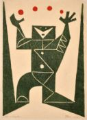 20th century Continental School, an abstract of a figure juggling, lithograph, indistinctly signed