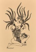 "20th century Greek school, a set of four erotic prints, each 8.75"" x 12.75"",(4)."