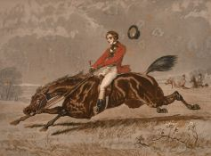 'Too Fast To Last' A print of a horse riding scene, chromolithograph, signed and inscribed l.l., l.