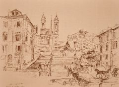 John Linfield (b.1930) British, A series of prints including 'Piazza di Spagna - Rome'