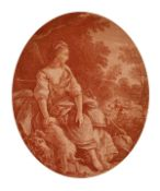 J. Pillement (1728-1808) French, a pair of sanguine engravings depicting ladies amongst nature,
