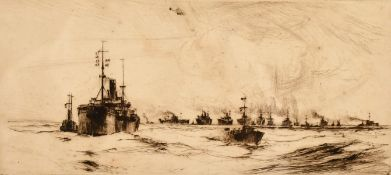 F. H. Mason (1875-1965) British, A Maritime scene of a flotilla of warships on calm waters, etching,