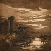 Daisy M Norrie (b.1899) British, Pembroke Castle and another of hilly ponds, etchings, signed and