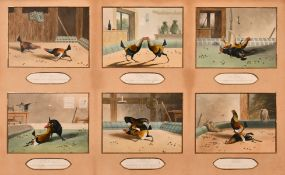 After Alken, a set of six lithographs of cock fighting scenes, shown in a single mount, visible size