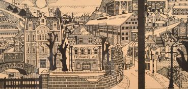 Brian Rees (b.1930) British, a city landscape including the Nelson Arms, woodblock Print, inscribed,