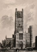 A 19th century collection of engravings of cathedral interiors/exteriors, engravings, inscribed,