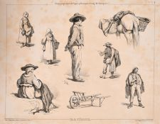 Francois Feragio (1805-1888) French, A series of studies portraying various figures in natural
