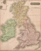 "A map of the British Isles, from Thomson's new general Atlas, circa 1815, hand-coloured, 24"" x 19."