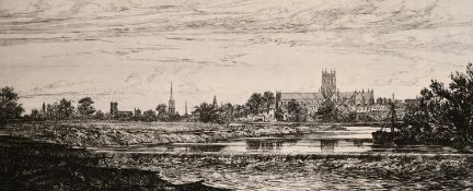 "A 19th century school, a landscape view of Worcester, etching inscribed in pencil, 6"" x 14""."