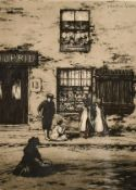 J. Beattie Scott (c. 1865-1937) children outside a shop with two other architectural etchings by