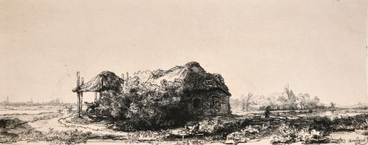 "After Rembrandt, An engraving of a young boy fishing by a cottage, 6"" x 13"", (unframed)."