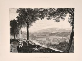 Three 19th century engravings after Turner with mountainous river landscapes including 'Mofs Dale