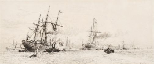"W. L. Wyllie (1851-1931) British, An etching of shipping on a busy river, 4.75"" x11""."