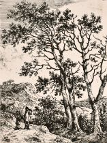 "Circle of John Crome, two travellers in a wooded landscape, etching, numbered '10', 4.25"" x 3."