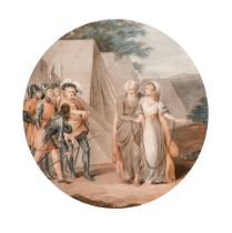 "'Lear And Cordelia', stipple engraving, inscribed, 12"" diameter."