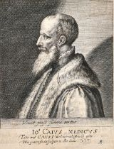 "An old master print depicting Joannes Caius, engraving, inscribed, 6.25"" x 4.75""."