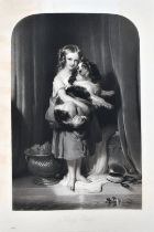 Samuel Cousins after Landseer, 'Beauty's Bath', a young girl holding a spaniel, mixed method