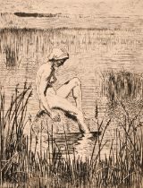 20th century school, a scene of a female nude sat at the lakeside, etching, indistinctly signed