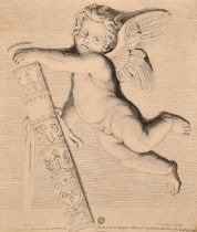 A group of decorative old master prints of cherubs and other topics, variously inscribed, from 6""