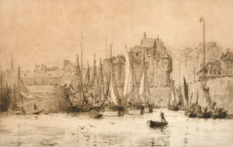William Lionel Wyllie (1851-1931) English, A dockyard with figures tending their boats, etching,
