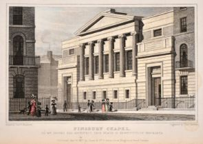 A collection of 19th century engravings of London views including 'All-Souls Church, Langham