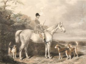 An Engraving by Edward Hacker after W & H Barraud of a huntsman on his horse with hounds, engraving,