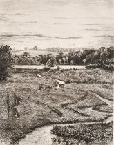 Heywood Sumner (1853-1940) British, 'Alresford pond', a stream meandering towards a pond, etching,