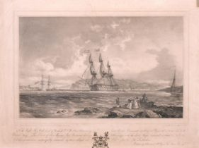 "Haghe after Hornebrock, A print of Plymouth sound, 9"" x 14""."