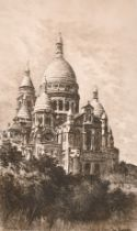 Lucien Gautier (1850-1925) An etching of a view of Basilique du Sacre Coeur, Montmartre, signed in