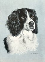 "Rex Hood, A study of a spaniel, print, signed and dated '1969', 12.75"" x 9""."