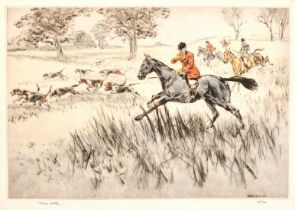 Henry Wilkinson (1921-2011) British, Huntsman and hounds giving chase, etching, inscribed signed and