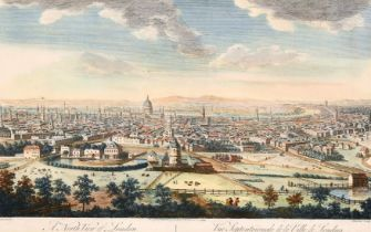 """After Canaletto, A North view of London, 18th century, 10"""" x 15""""."""