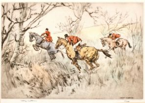 Henry Wilkinson (1921-2011) British, Huntsman giving chase, etching, inscribed signed and
