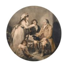 "Bond after Morland, A father visiting his daughter, stipple engraving, 12"" diameter."