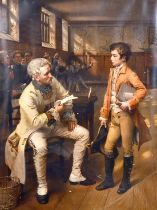 "'Wellington's First Encounter with The French', print, inscribed, 21.5"" x 16.5""."