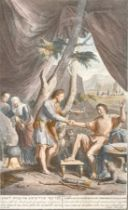 "G. Yander Gouwen after G. Hoet, A scene from the book of Genesis, 14"" x 8.5""."