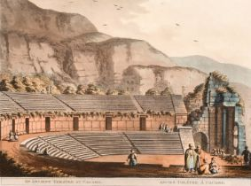 A pair of prints circa 1803 of Egyptian subjects, the ancient theatre of Cacamo, and the 'Groto by