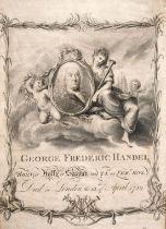 "'GEORGE FREDERIC HANDEL', A print celebrating his life, print, 14"" x 10""."