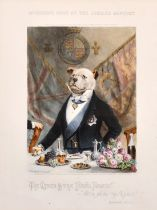 "After Walter James Allen, Two prints of McQueen's dogs at the Jubilee banquet, each 16"" x 9""."