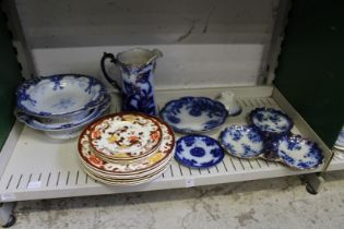 A quantity of Mason's Brown Velvet plates, Flow Blue china etc.