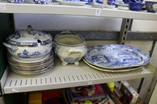 A Spode Italian pattern meat dish and other blue and white china.